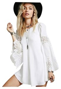 White Brand New Boho Chic Lace Accented XL runs smaller short dress White on Tradesy