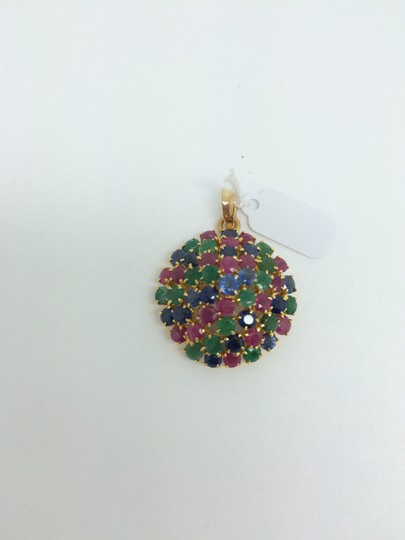 Other 14K Yellow Gold Muti-Color Stones Pendant