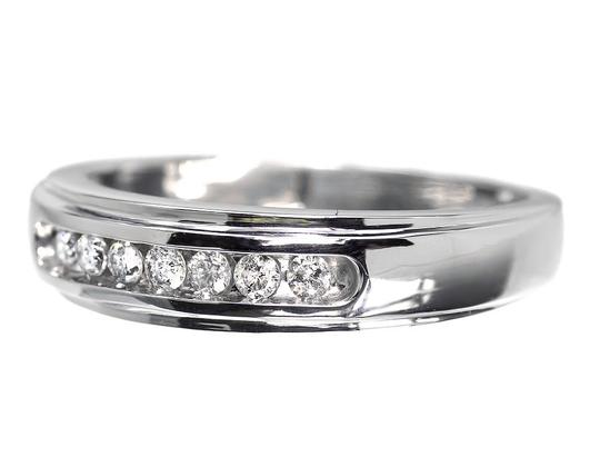 Jewelry Unlimited 10k White Gold Mens Round Diamond Channel Set Wedding Band Ring 6mm