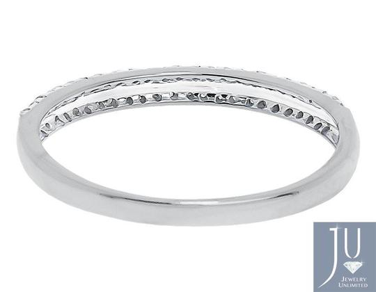 Jewelry Unlimited 10k White Gold Ladies Round 2 Row Diamond Wedding Fashion Band Ring 0.15 ct