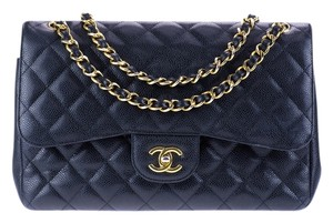 Chanel Caviar Leather Jumbo Double Flap Double Flap Shoulder Bag