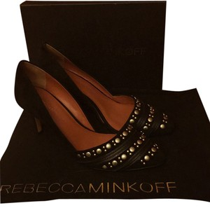 Rebecca Minkoff Suede Studded Black Pumps
