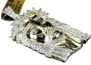 Jewelry Unlimited Mens Yellow Gold Finish 2 Inch Diamond Jesus Face Piece Pendant Charm 1.20 Ct