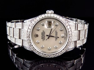 Other Mens Excellent Rolex Datejust Oyster Stainless Steel Diamond Watch With 9.5 Ct