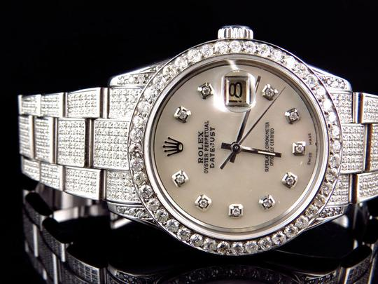 Rolex Stainless Steel Datejust Oyster Diamond Watch with 9.5 Ct Men's Jewelry/Accessory