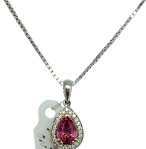 Other 14K White Gold Pear Shape Pink Sapphire and Diamond Pendant