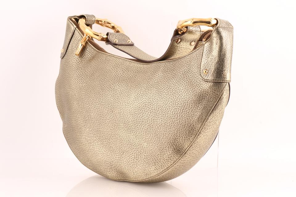 5852ae3139812 Gucci Bamboo Ring Half Moon Pebbled Gold Leather Hobo Bag 33% off retail