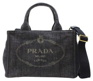 Prada Shoulder Shoulder Canapa Handle Satchel in Blue/Denim