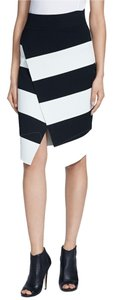 A.L.C. Striped Asymmetrical Skirt Black