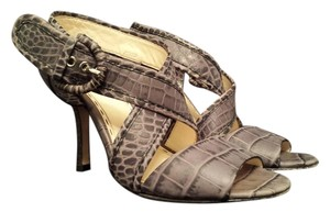 Coach Snakeskin Snakeprint Strappy Snake, Black, Grey Pumps