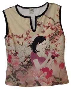Kinesis Asian Girl Lotus Motif Athletic Yoga Workout Top Size L Never Worn