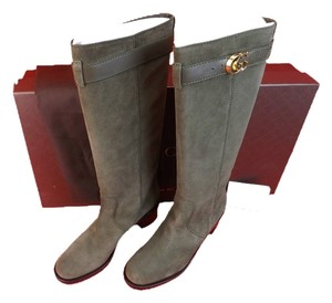 f10f4d13f80 Gucci Military Green Olive Leather Suede Knee High Gold Gg Belted Riding  Boots Booties