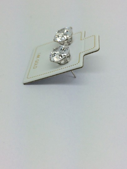 Other 14K White Gold CZ Stud Earrings 8mm