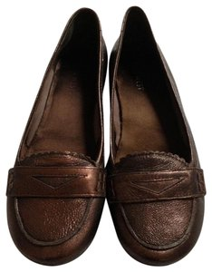 Nine West Metallic Penny Loafer Cute Preppy Bronze Flats
