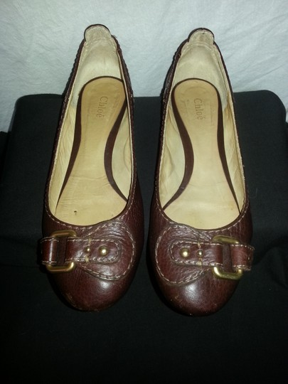 Chloé Leather Brown Flats