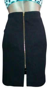 Banana Republic Exposed Zipper Fitted Wool Skirt Black