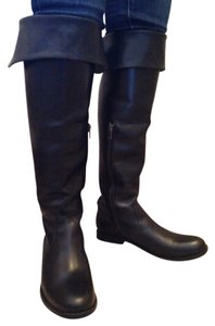 Frye Leather Over The Knee Shirley Riding Black Boots