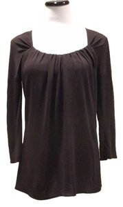 Yigal Azrouël Ruched Jersey Bateau Top Brown