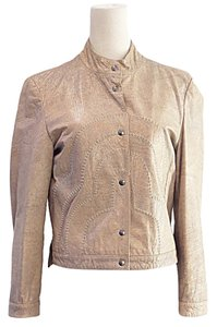 Giorgio Armani Taupe Leather Jacket