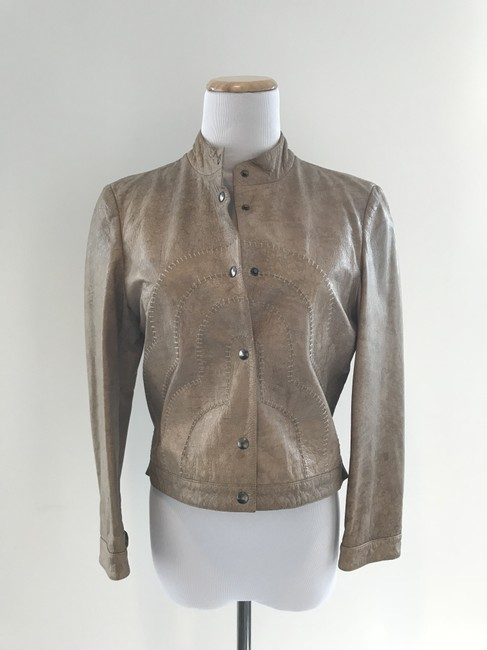 Giorgio Armani Taupe Leather Jacket Image 10