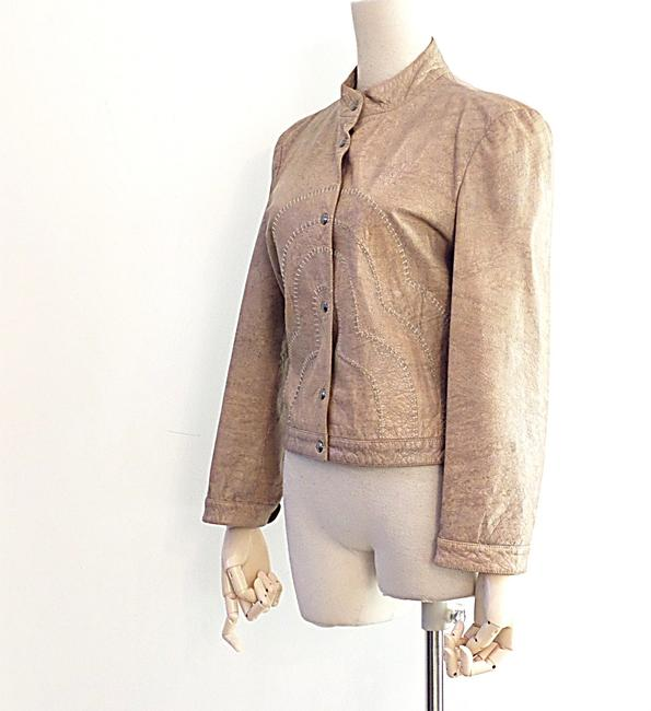 Giorgio Armani Taupe Leather Jacket Image 2