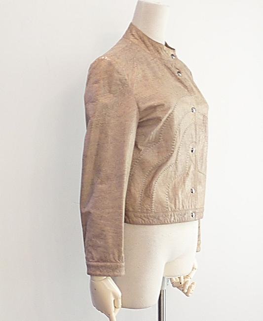 Giorgio Armani Taupe Leather Jacket Image 3