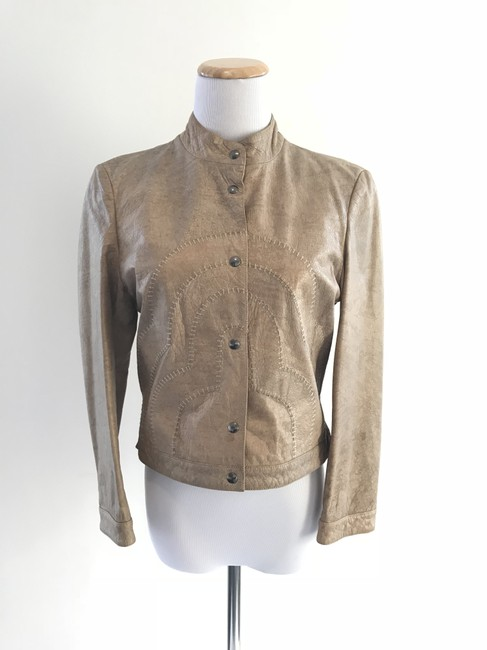 Giorgio Armani Taupe Leather Jacket Image 5