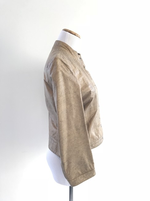 Giorgio Armani Taupe Leather Jacket Image 6