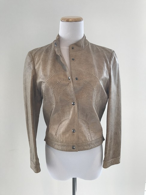Giorgio Armani Taupe Leather Jacket Image 9