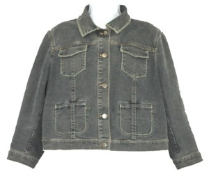 Tahari Black Denim Jean Womens Jean Jacket