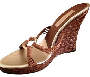 Michael Kors Leather Wedge Brown and Gold Wedges