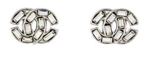 Chanel Crystal CC Logo Cluster Baguette Square Silver Classic Medium Clip On