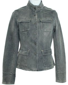 Elie Tahari Denim Jean Petite GRAY Womens Jean Jacket