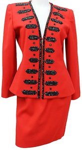 BLACKTIE BY OLEG CASSINI Blacktie II Oleg Cassini Embellished Red Wool Cocktail Skirt Suit 6