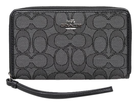 Preload https://item1.tradesy.com/images/coach-signature-zip-around-gray-canvasleather-wristlet-10585315-0-1.jpg?width=440&height=440