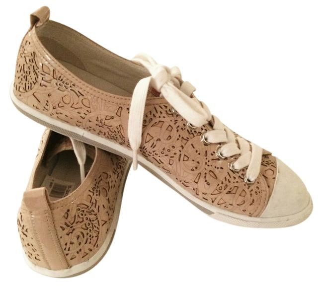 Item - Beige Taupe White Pink Sneaker Laces Free Shipping Mint Flats Size US 7.5 Regular (M, B)