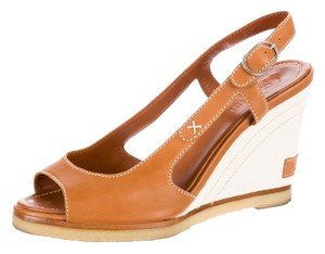Chanel Leather Canvas Wedge Heel Tan/Natural Wedges