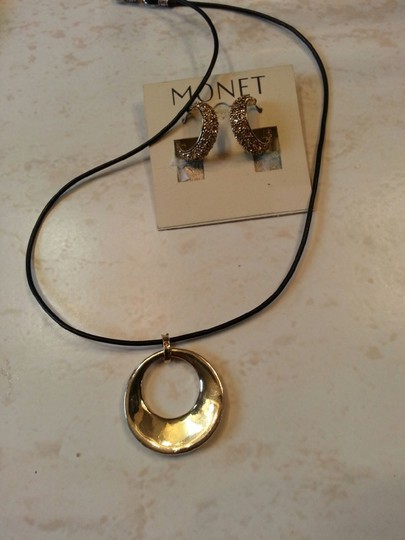 MONET Gold Champagne Pave' Crystal Necklace and Pierced Earrings