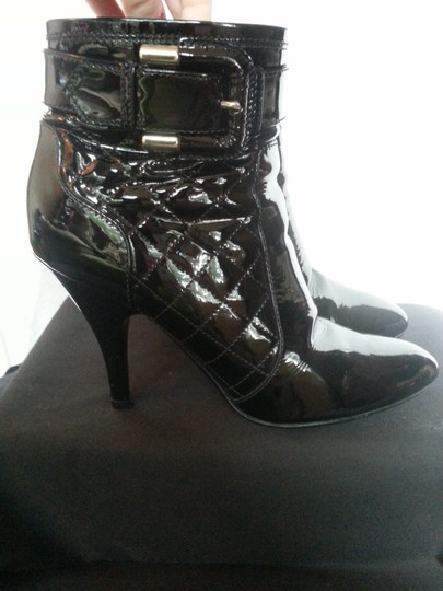 Burberry Ankle Patent Leather Quilted Buckle Italy Classy Sexy Black Boots