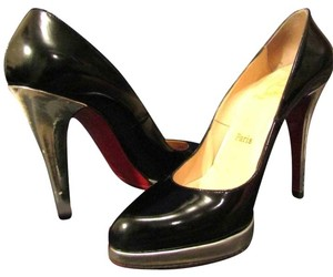 Christian Louboutin Blue Dressing Room Black Stelettos High Heels Black,Silver Platforms