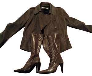 Express Leather Jacket and Bolero Italian Boots Boot Granny Express Leather jacket and Italian tall boots Boots