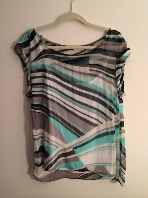 Ella Moss Top Combination of black, aqua, white, tan print