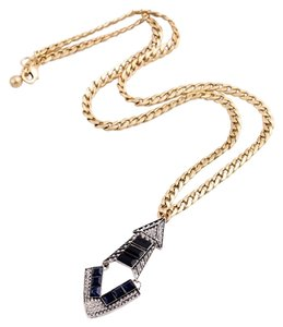 Private Collection Art Deco Blue Black Crystal Stone Pendant Necklace