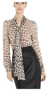 Dolce&Gabbana Dolce & Gabbana Animal Print Neck Tie Tunic Silk Top black white