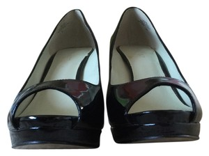 Nine West Stiletto Glossy Open Toe Black Pumps