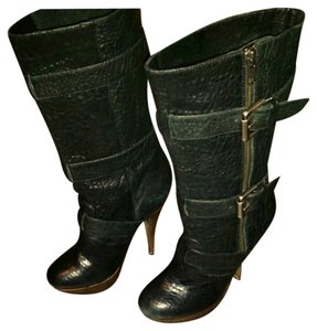 Elizabeth and James Leather Texured Platform Kneehigh Buckles Zipup Black Boots