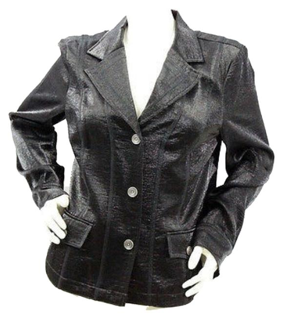 Preload https://item3.tradesy.com/images/tribal-black-shimmery-buttoned-blouse-jacket-blazer-size-10-m-10589077-0-1.jpg?width=400&height=650