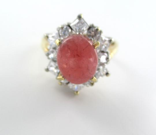 Other 14K YELLOW GOLD RING 5.9 GRAMS RHODOCHROSITE & WHITE STONES SZ 9 ENGAGEMENT