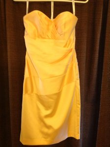 David's Bridal Canary Yellow F15615 Dress