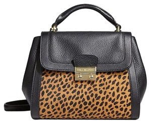 Vera Bradley Leather Leopard Haircalf Satchel in BLACK